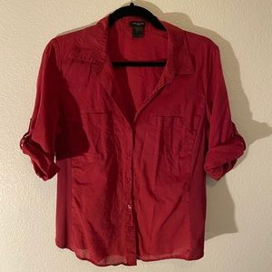 Red Ann Taylor Button Down